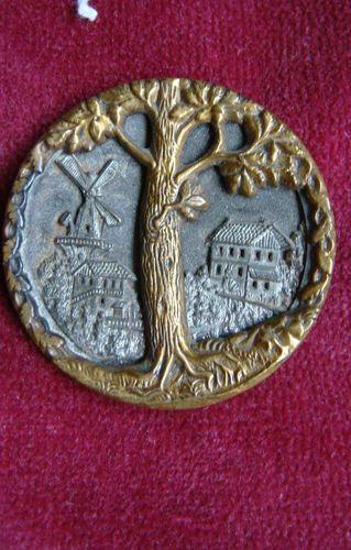 Belle Old Grand Antique Brass Français Steel Ebony Photo Button: