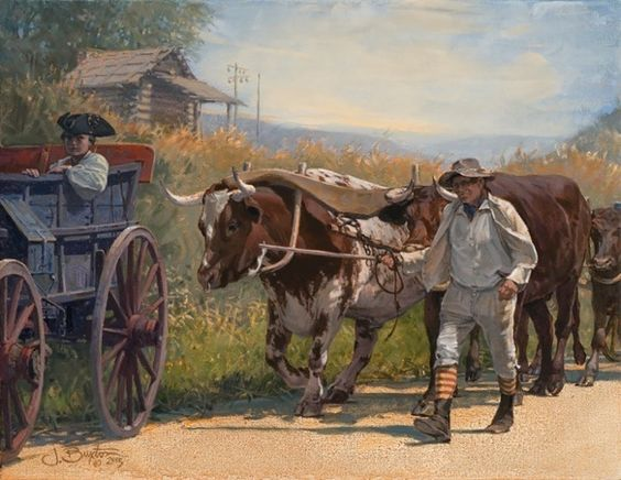 JOHN BUXTON by Traveling the West Art Show & Sale Oil on Linen ~ OX WAGON x 14  x  18 Inches