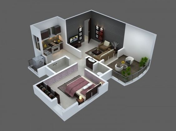 25 One Bedroom House Apartment Plans With Images Home Design