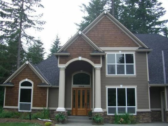 Cedar shakes hardie board siding and shake on pinterest for Exterior house peak decorations