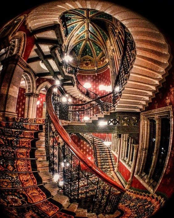 The beautiful staircase at the St Pancras Renaissance Hotel in London. Photo by sabear on Instagram.: