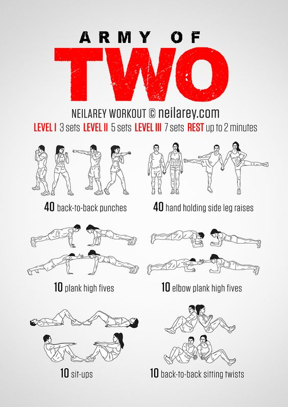 Training with a partner can make the time spent exercising totally fly by just as it ups the intensity level and helps each improve their performance. The Army of Two workout is an exercise in synchronized muscle control. Not only do you have to...