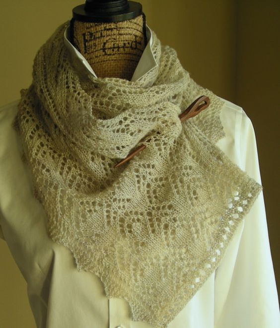 Knitted Scarf Pattern With Sock Yarn : Knitting Lace Scarf Pattern PDF- Smoky Mountain Morning Mist Scarf Shawl - re...
