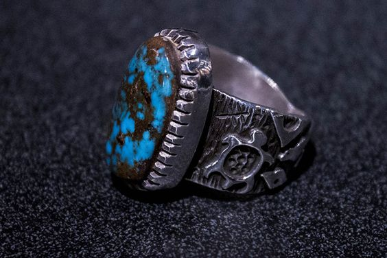 Candelaria Turquoise Ring, by Kee Yazzie, Jr.