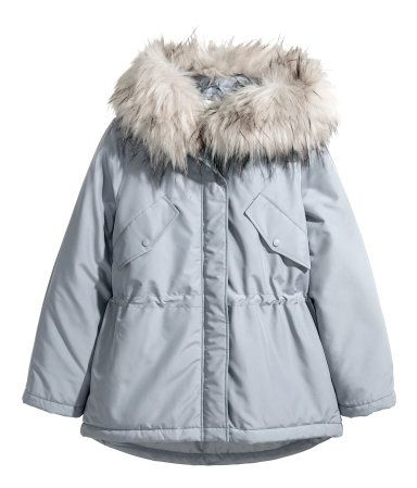 Light gray. Short, padded parka in woven fabric with a sheen. Lined hood with wide faux fur trim, zip and wind flap at front with concealed snap fasteners,