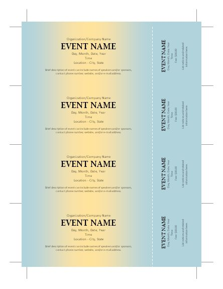 free ticket template u2026 Pinteresu2026 - Microsoft Word Event Ticket Template