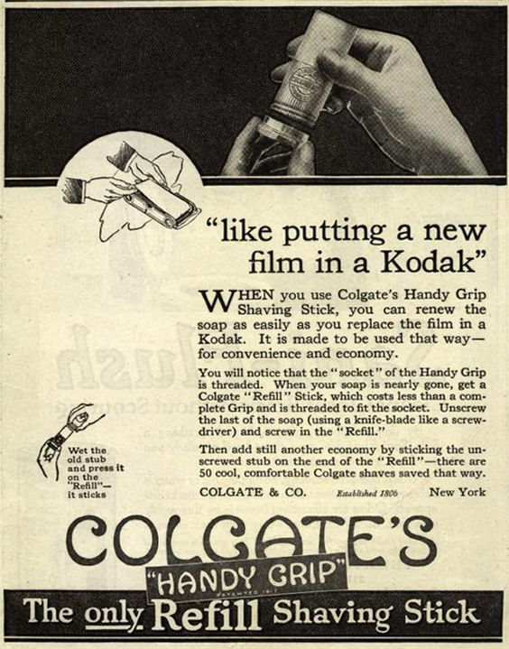 """1919 Colgate ad: """"like putting new film in a Kodak."""" from the Saturday Evening Post."""