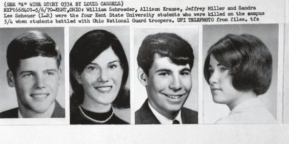 May 4 – Kent State shootings: Four students at Kent State University in Ohio are killed and 9 wounded by Ohio National Guardsmen, at a protest against the incursion into Cambodia.