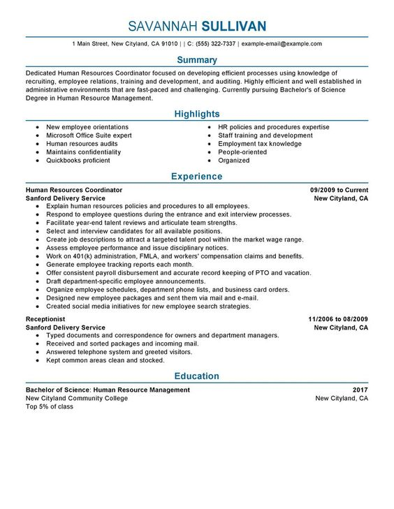 Hr Coordinator Resume Example | Human & Resources Sample Resumes