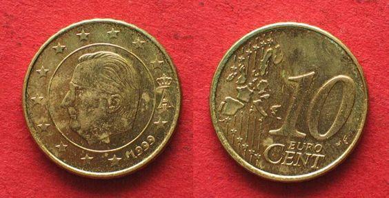 BELGIEN 10 Cent 1999 - FEHLPRÄGUNG STEMPELDREHUNG # 93541