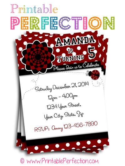 Birthday Party Invitation - Red Ladybug - Vertical