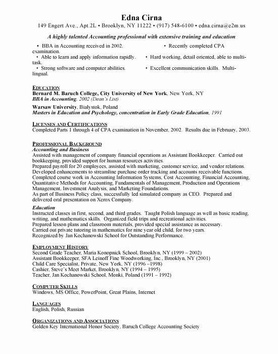 Child Care Skills For Resume Beautiful Accounting Resume Skills Resume Childcare