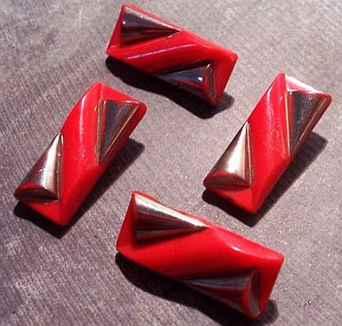 Art Deco Red and Silver Glass Buttons