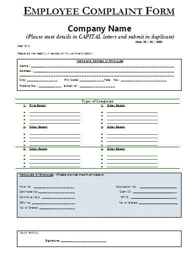 Sample Employee Complaint Form   Certificate Templates   Pinterest