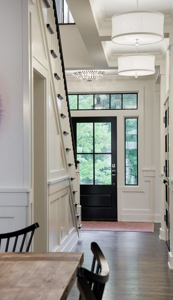 Entry Color Black White Black door paint color is Benjamin Moore C235 80 Black Impervo in High Gloss.