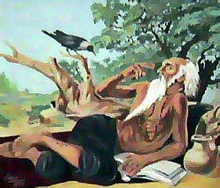 """Baba Sheikh Farid, whose salokas are included in the Adi Granth. In this painting he is asking a crow to peck any part of his body but leave his eyes entact as he is still waiting to have a glance of his master. """"Eh do naina mat chhoho in he pir dekhan ki aas"""""""