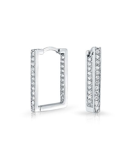 Bling Jewelry Bling Jewelry 925 Sterling Silver Inside Out Cz Rectangle Huggie Hoop Earrings