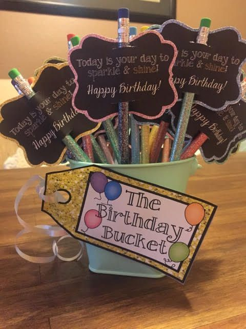 Birthday Gift Baskets For College Students : The birthday bucket pencil toppers