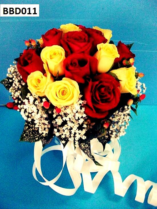 Bridal Bouquet of Red & Yellow Roses