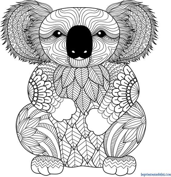 Mandala De Koala Para Colorear Con Imagenes Mandalas Disney