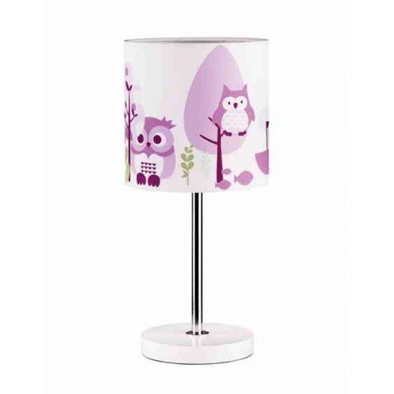 lampada da tavolo rosa con gufetti per la cameretta della mia bambina!