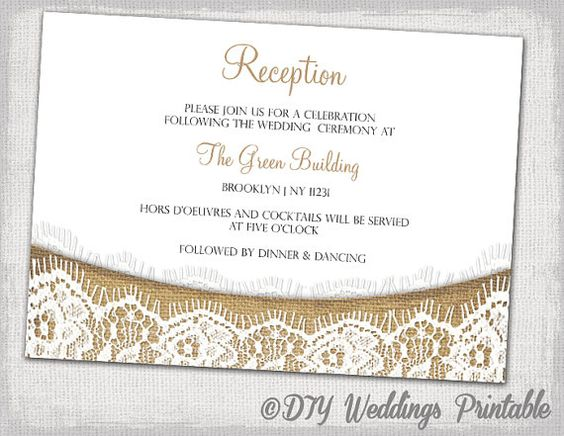 Wedding Invite Enclosures: Rustic Reception Invitation Template Download DIY