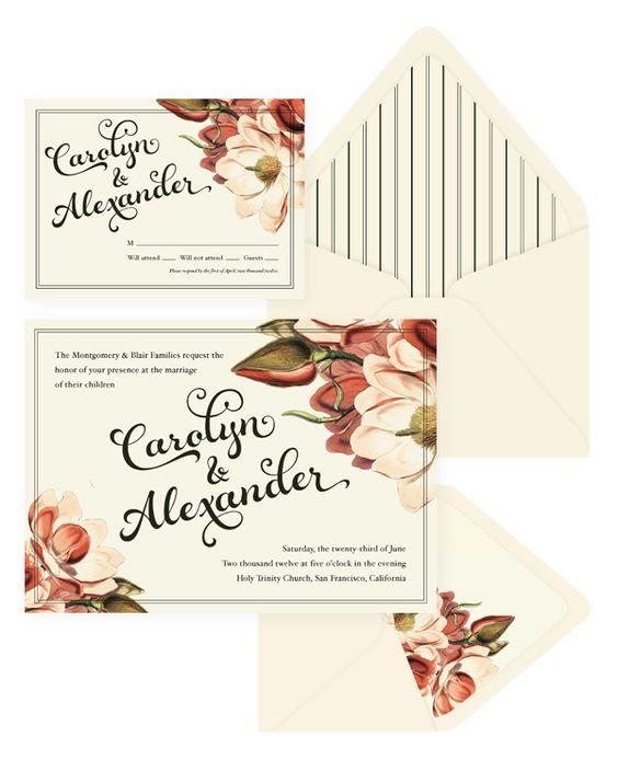 Vintage Botanical Wedding Invitation & RSVP
