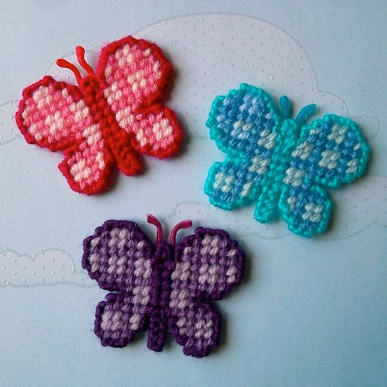 "Plastic Canvas: Butterfly Magnets (set of 3) -- ""Ready, Set, Sew!"" by Evie"