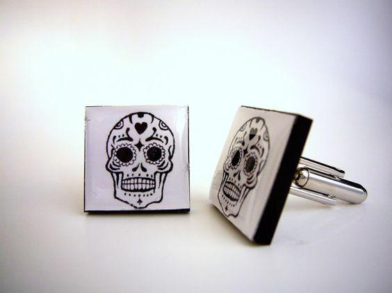 Some mexican sugar skull cufflinks