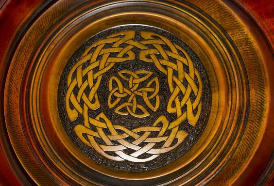 Beautiful handmade Celtic wooden bowl. The colors just pop together. Found at Textures Craftworks Hamilton ON