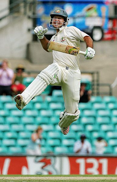 This is a great shot of Ricky Ponting. Former Australian cricket captain and hugely successful batsmen. He has scored the greatest number of test runs of all Australian batsmen.