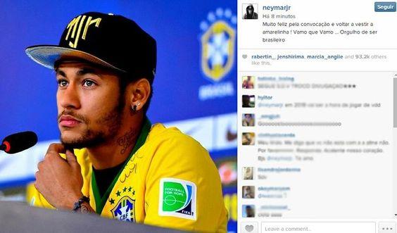 Neymar comemora convocação: 'Feliz em voltar a vestir a amarelinha'