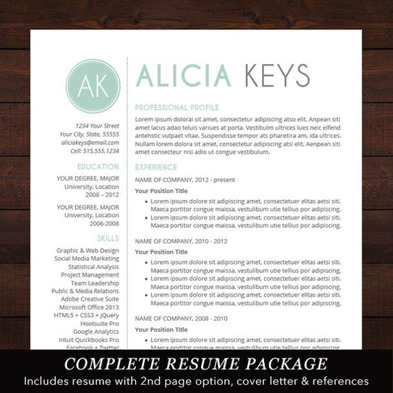 instant download  u2605 resume template    cv template for ms word
