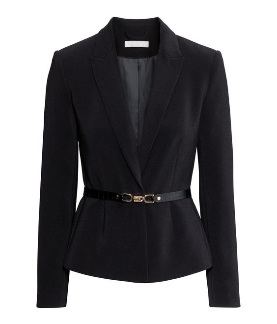 Black fitted jacket with a matching imitation snakeskin belt to cinch in the waist. | H&M Modern Classics