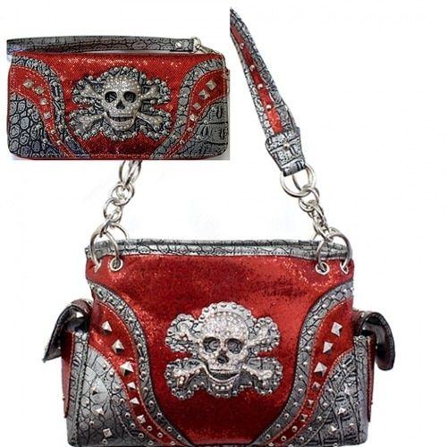 Red Skull Studded Concealed Purse W Matching Wallet Concealed Purse Black Leather Purse Purses