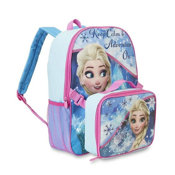 Girl's Backpack with Lunch Tote Set Frozen Elsa Movie Character Back to School #Disney