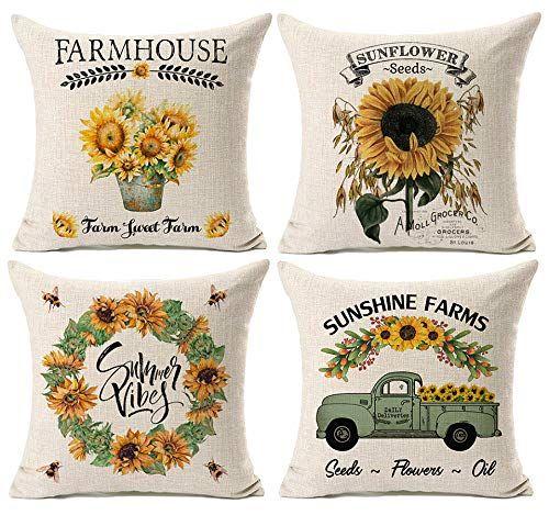 Amazon Com Kithomer Set Of 4 Farmhouse Outdoor Decorations Throw