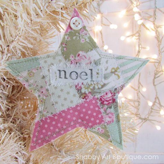 Faux Patchwork Christmas Ornies - Shabby Art Boutique