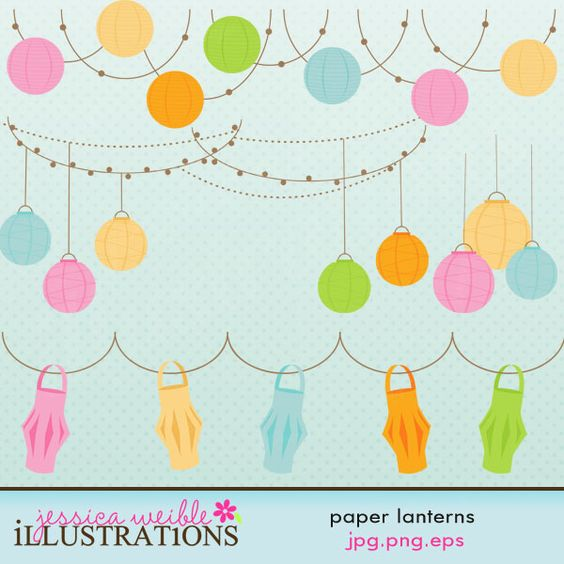 This Paper Lanterns clipart set comes with 19 paper lantern graphics including: 3 different styles of Paper Lanterns in 5 colors each and 4 different paper lantern group hangings.