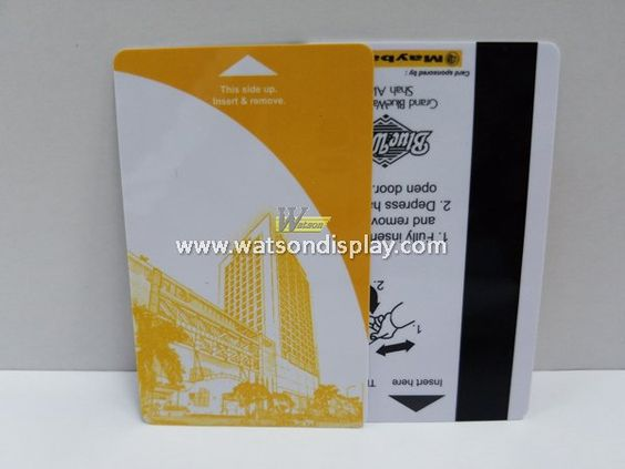Custom color magnetic stripe cards on standard white cards