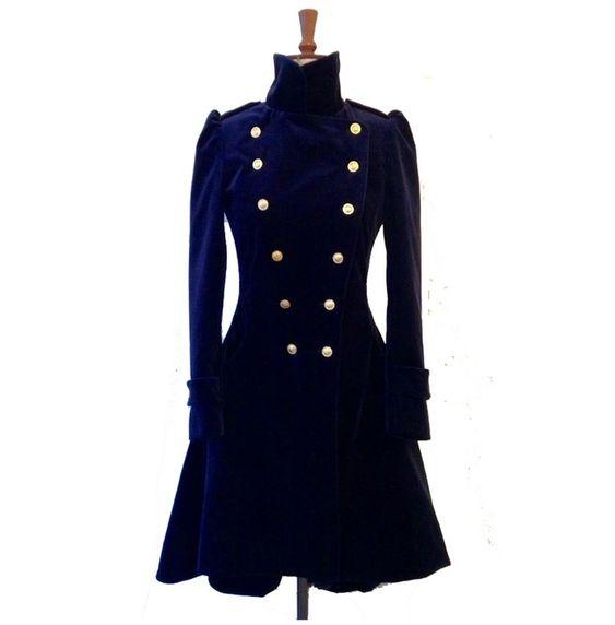 Women Blue Velvet Coat Double Breasted Frock Women Gothic Velvet Coat