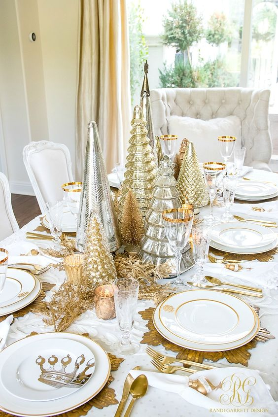 Elegant Gold Christmas Table Scape with white ruffled table linens and gold accents