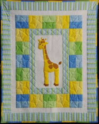 Giraffe quilt...very cute binding treatment on this darling baby quilt!: