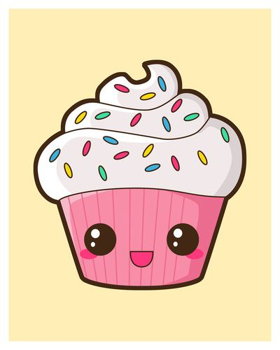 Happy cupcake art i want pinterest happy kawaii for Cute muffin drawing