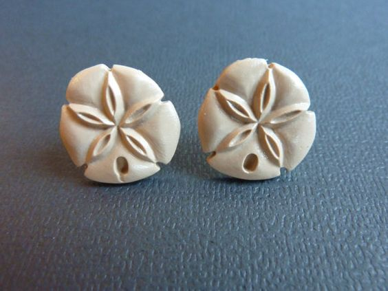 Tan Sand Dollar Stud Earrings Polymer Clay by KristalsKreations20, $6.00
