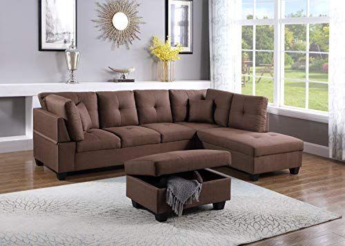 Esofastore Sectional Sofa Set Modern Right Facing Tufted Cushion Sectional Sofa Brown Sofa Chaise Cu Brown Sofa Living Room Fabric Sectional Sofas Sofa Storage