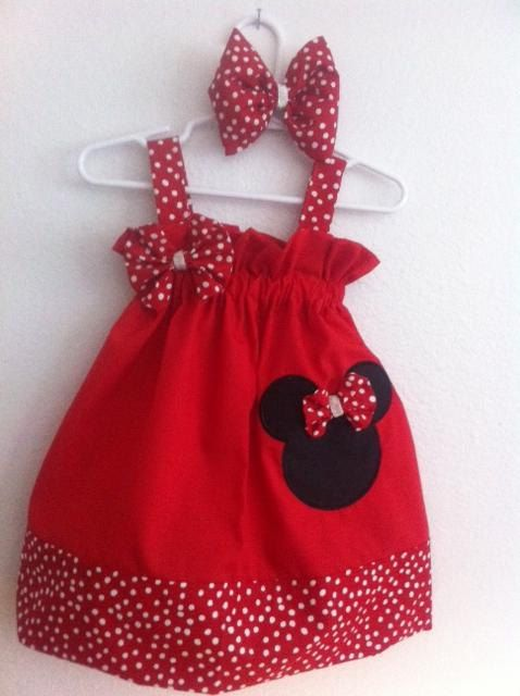 Minnie Mouse Dress with matching bow by MissBee286 on Etsy, $28.00