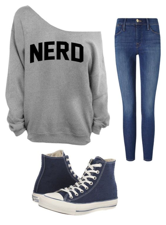 """""""Outfit by Caroline"""" by maggie-wilson-i on Polyvore featuring Frame Denim and Converse"""