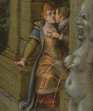 """Detail - """"The Property of a Lady"""" by Sebastiaan Vrancx - just at the turning of the century. Better view of what the backgammon lady is probably wearing too.:"""