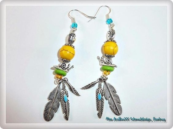 Indianische Edelstein-Ohrhänger gelb grün silber von ♥Miss Betty's Luxus-Schmuckbar♥ auf DaWanda.com